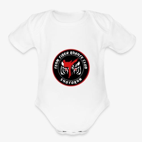 TeamTigerKarate round LOGo - Organic Short Sleeve Baby Bodysuit