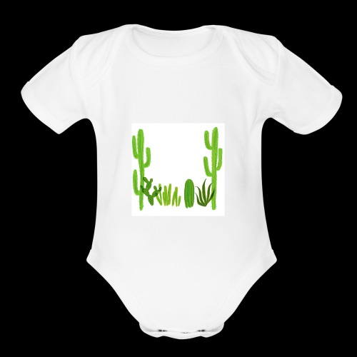 cacti shirt - Organic Short Sleeve Baby Bodysuit