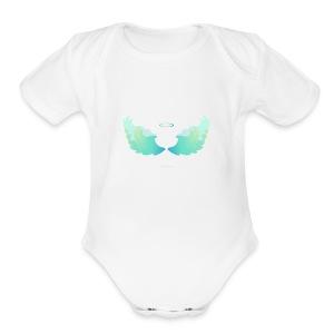 Angel wings with nimbus - Short Sleeve Baby Bodysuit