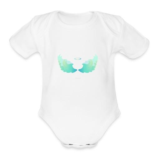 Angel wings with nimbus - Organic Short Sleeve Baby Bodysuit