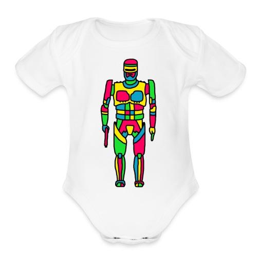 Cartoon Robocop in Color - Organic Short Sleeve Baby Bodysuit