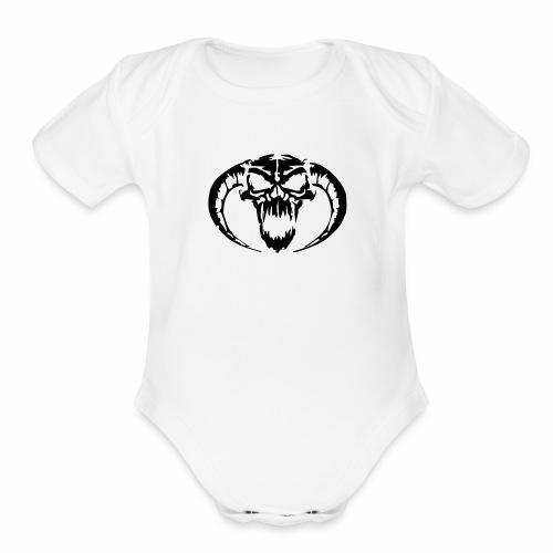 black skull - Organic Short Sleeve Baby Bodysuit