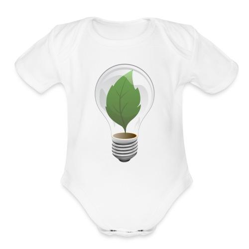 Clean Energy Green Leaf Illustration - Organic Short Sleeve Baby Bodysuit