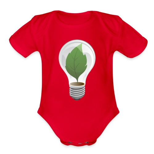 Clean Energy Green Leaf Illustration - Organic Short Sleeve Baby Bodysuit