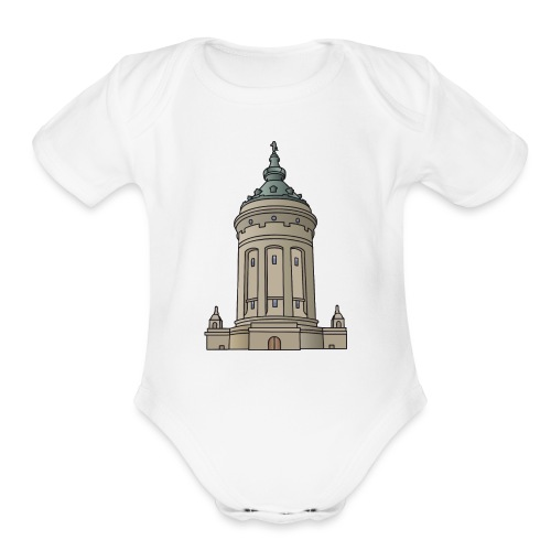 Mannheim water tower - Organic Short Sleeve Baby Bodysuit