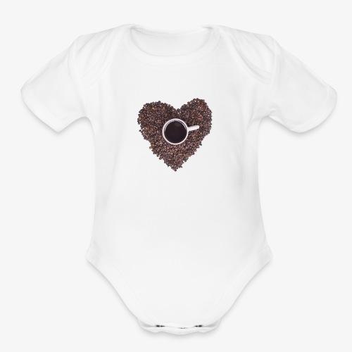 I Heart Coffee Black/White Mug - Organic Short Sleeve Baby Bodysuit