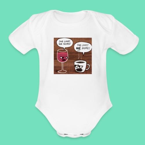 coffee v wine - Organic Short Sleeve Baby Bodysuit