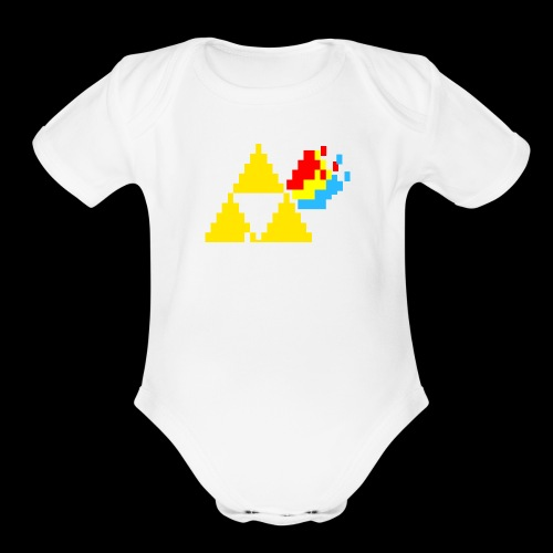 the dark side of the Triforce pixel - Organic Short Sleeve Baby Bodysuit