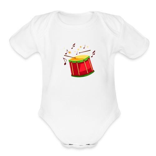 drum sticks beat - Organic Short Sleeve Baby Bodysuit