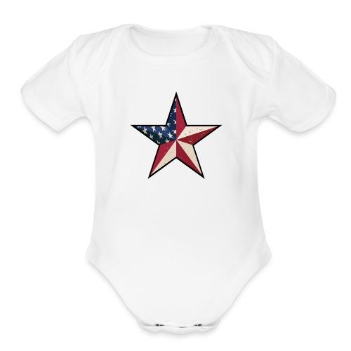 American Patriot Barn Star - Organic Short Sleeve Baby Bodysuit