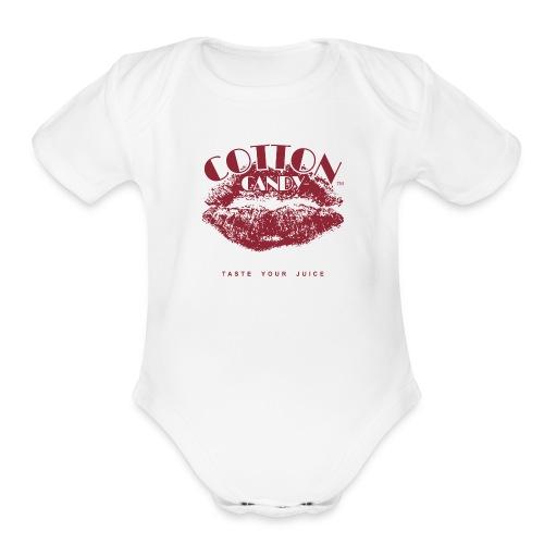 CottonCandyLogo-MONOChrome-NOVAPE-TM-slogan-MAROON - Organic Short Sleeve Baby Bodysuit