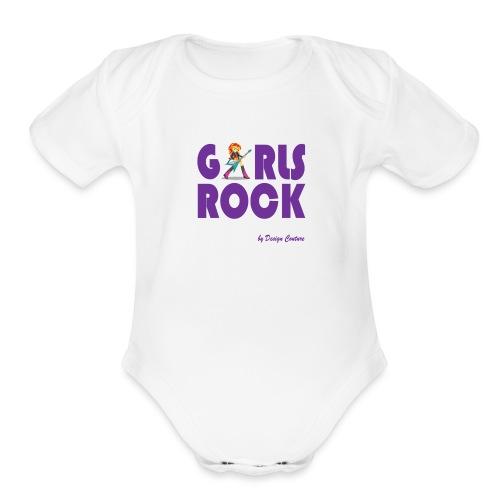 GIRLS ROCK PURPLE - Organic Short Sleeve Baby Bodysuit