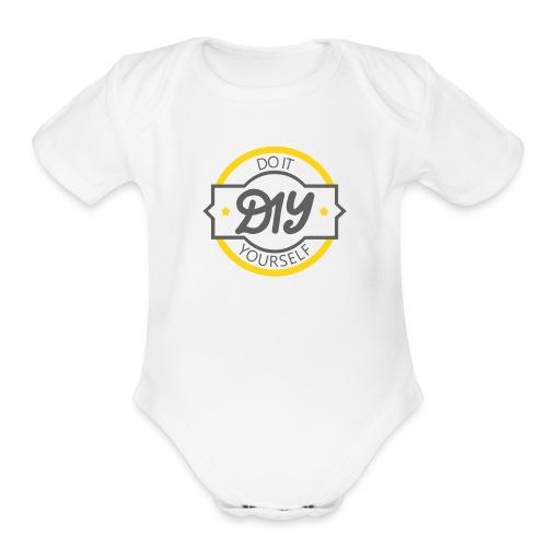 Do It Yourself | DIY | Minimal Badge-like Design - Organic Short Sleeve Baby Bodysuit