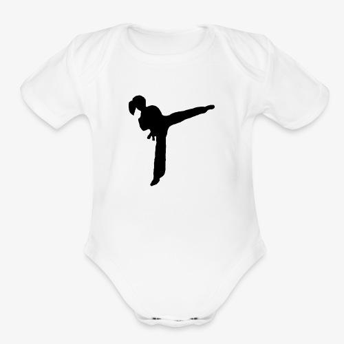 Girl Kicking - Organic Short Sleeve Baby Bodysuit