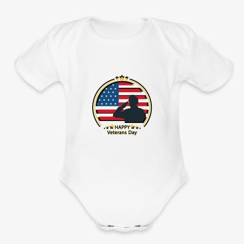 Happy Veterans Day - Organic Short Sleeve Baby Bodysuit