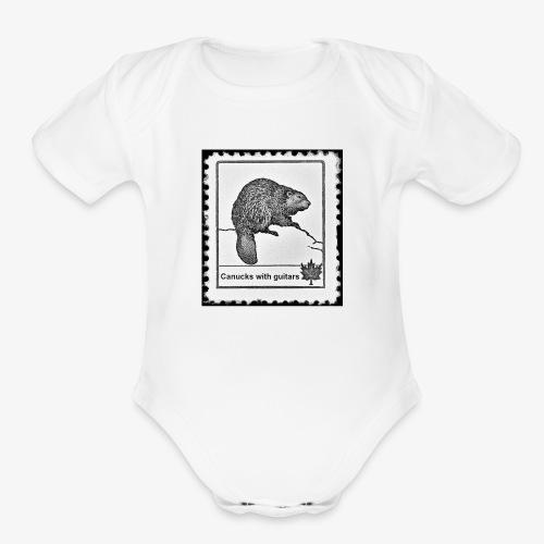 Vintage Stamp - Organic Short Sleeve Baby Bodysuit