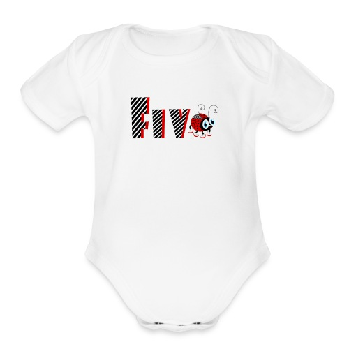 5nd Year Family Ladybug T-Shirts Gifts Daughter - Organic Short Sleeve Baby Bodysuit