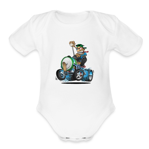 Hot Rod Electric Car Cartoon - Organic Short Sleeve Baby Bodysuit