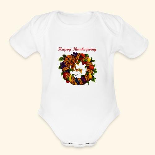 Happy Thanksgiving 1 - Organic Short Sleeve Baby Bodysuit