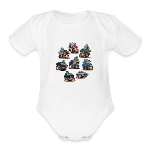 Car Crazy Classic Hot Rod Muscle Car Cartoons - Organic Short Sleeve Baby Bodysuit