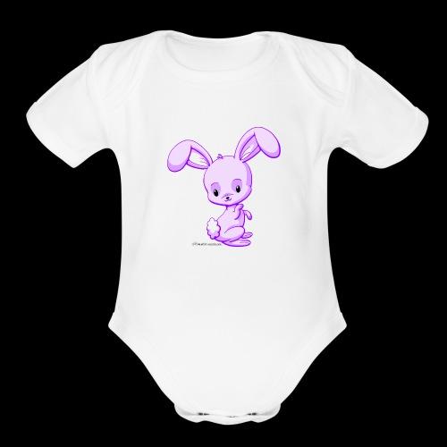 Purple Bunny - Organic Short Sleeve Baby Bodysuit