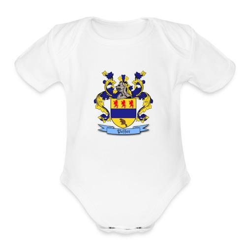 Peffer Family Crest - Organic Short Sleeve Baby Bodysuit