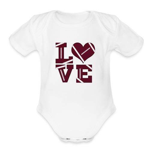 Football Love - Organic Short Sleeve Baby Bodysuit