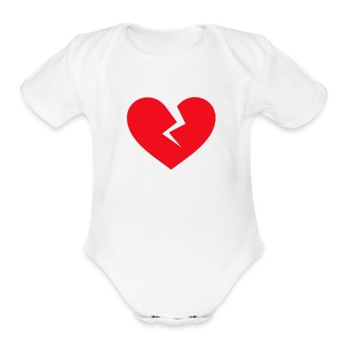 Broken Heart - Organic Short Sleeve Baby Bodysuit