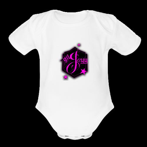 GilJayy Badge (Pink) - Organic Short Sleeve Baby Bodysuit