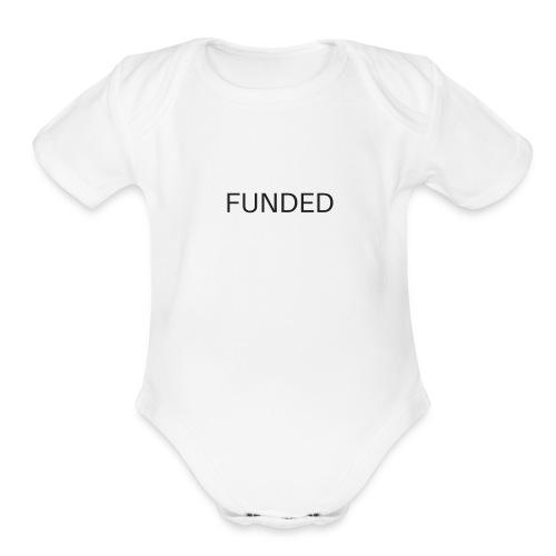 FUNDED Black Lettered T - Organic Short Sleeve Baby Bodysuit