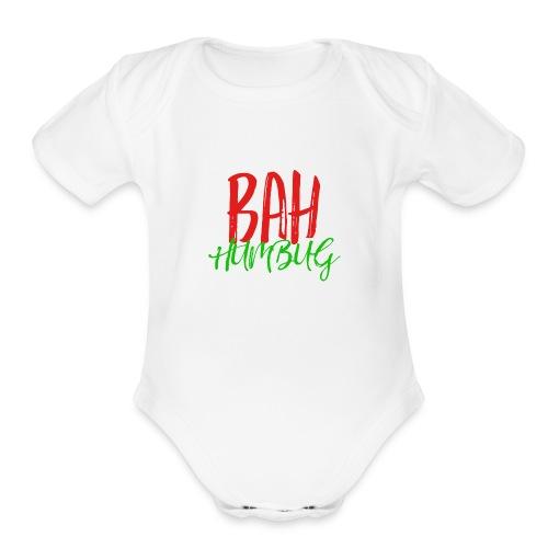 Bah Humbug Handwritten - Organic Short Sleeve Baby Bodysuit