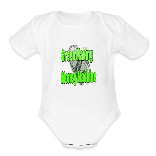 Green Making Money Machine - Organic Short Sleeve Baby Bodysuit