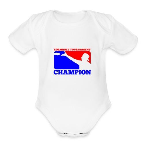 Cornhole Tournament Champion - Organic Short Sleeve Baby Bodysuit