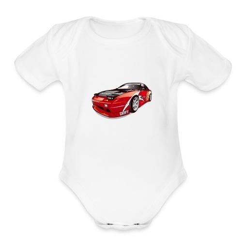 cars drift - Organic Short Sleeve Baby Bodysuit