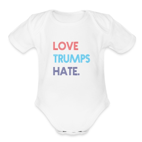Love Trumps Hate Retro - Organic Short Sleeve Baby Bodysuit