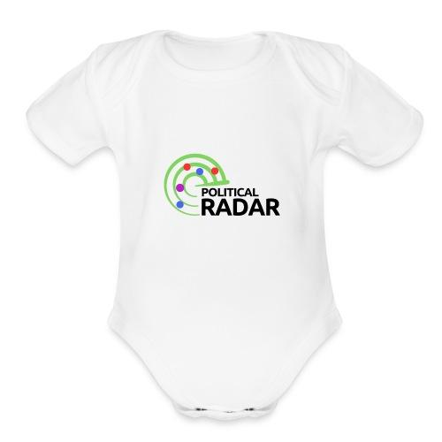 Political Radar Logo - Black - Organic Short Sleeve Baby Bodysuit