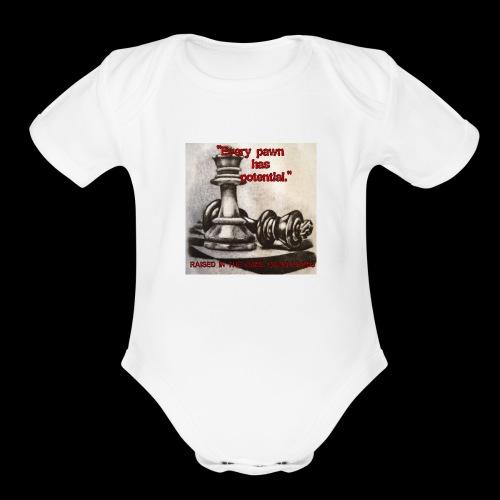 Raised In Game Pawn - Organic Short Sleeve Baby Bodysuit
