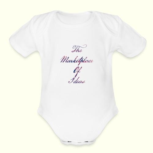 The Marketplace Of Ideas Word Logo - Organic Short Sleeve Baby Bodysuit