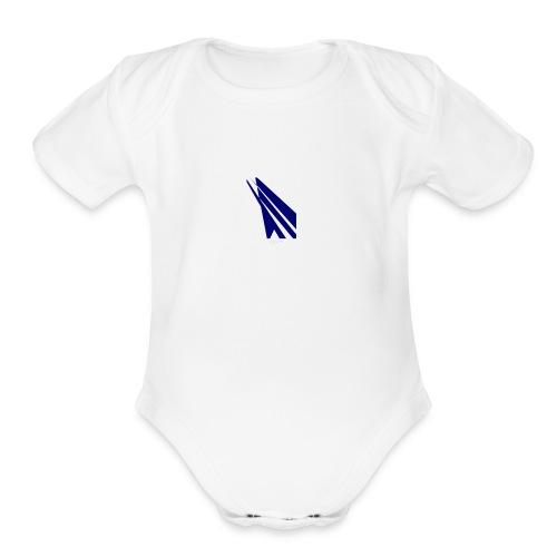 blue logo - Organic Short Sleeve Baby Bodysuit