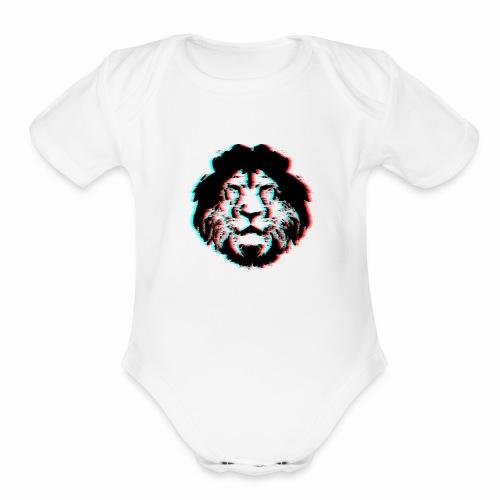 3D Lion Face - Organic Short Sleeve Baby Bodysuit