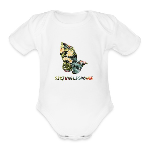 sirjunglesponge floral - Organic Short Sleeve Baby Bodysuit