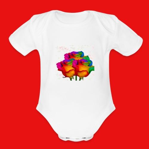 Rainbow Roses - Organic Short Sleeve Baby Bodysuit