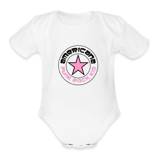 americana punk rock pink - Organic Short Sleeve Baby Bodysuit