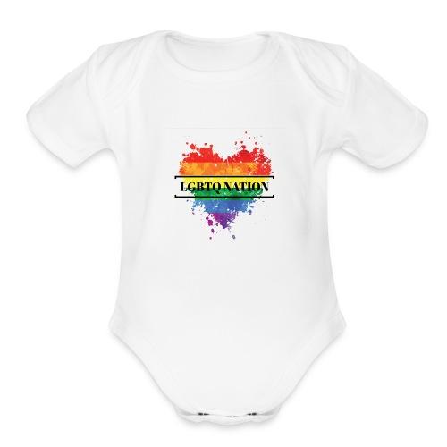 LGBTQ Nation Rainbow Heart - Organic Short Sleeve Baby Bodysuit