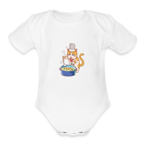 Kitty cat chef - Organic Short Sleeve Baby Bodysuit