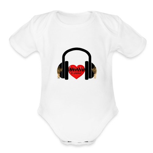 B-Savage Music Official Logo - Organic Short Sleeve Baby Bodysuit