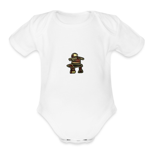Inuksuk Totem Figure in Gold - Organic Short Sleeve Baby Bodysuit