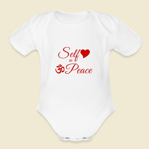 108-lSa Inspi-Quote-83.b Self-love = OM-Peace - Organic Short Sleeve Baby Bodysuit