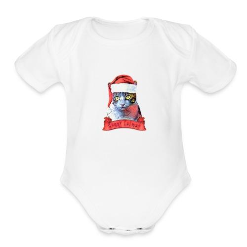 MERRY CATMAS - Organic Short Sleeve Baby Bodysuit