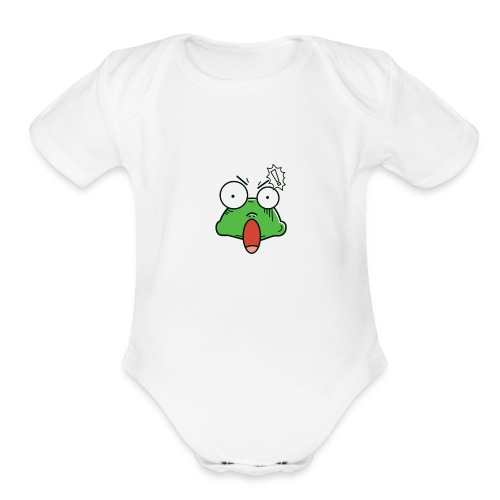 Frog with amazed face expression - Organic Short Sleeve Baby Bodysuit